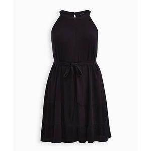 🆕 Black Woven Tiered Mini Dress 3X 22 24 NWT